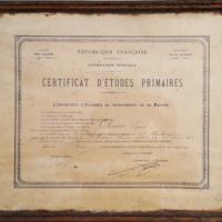 Diplôme de certificat d'études, 1906, signé Deries