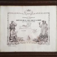 Diplôme de la Société des Amis de l'école laïque de la Manche pour le recrutement de l'élite. Fondation Fastout, année 1939